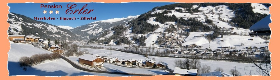 Pension Erler - Holiday - Mayrhofen - Hippach - Zillertal - Winterholiday - Skiholiday - Snowboarding - Cross Country - View from the balcony